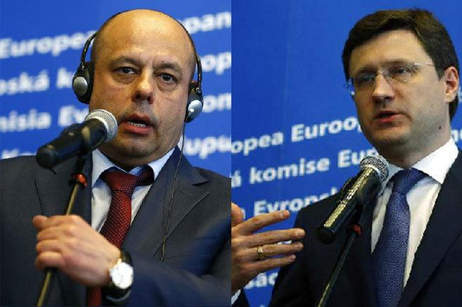 Yuri Prodan, ministro ucraniano de Energía, y su homólogo ruso,...