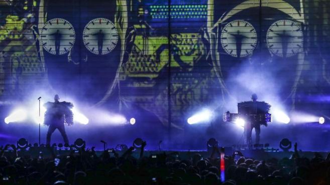 Un momento del concierto de Pet Shop Boys en el Festival SOS 4.8 de...