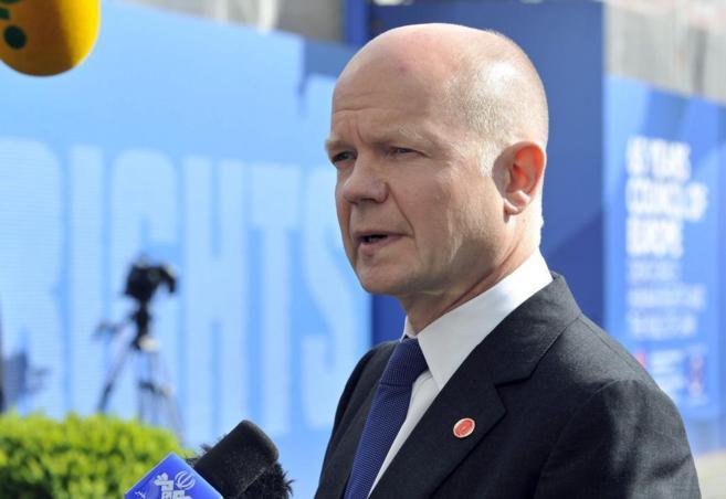 El ministro de Exteriores británico, William Hague, en Viena, en la...