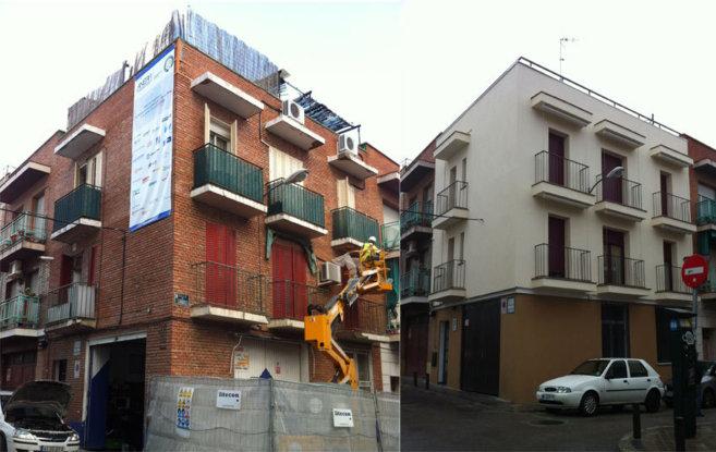 Estado inicial del edificio en febrero de 2013 y estado actual del...