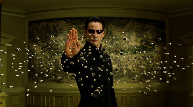 Una de las escenas de la película Matrix.