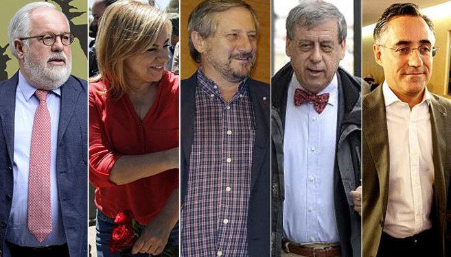 (De izda. a dcha.) Arias Cañete (PP), Valenciano (PSOE), Meyer (IU),...