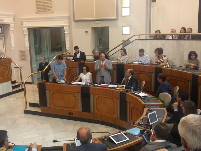 El grupo municipal socialista en la Diputación en el momento en el...