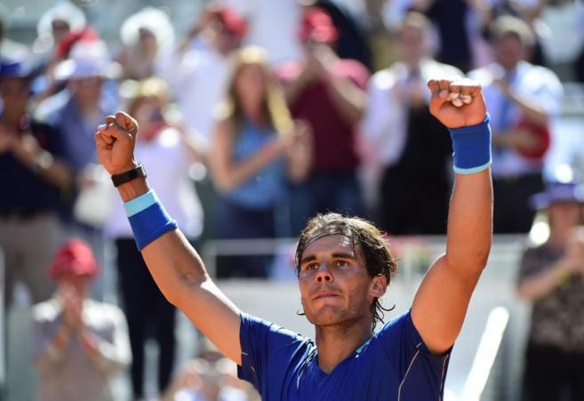 Nadal celebra su victoria ante Berdych.