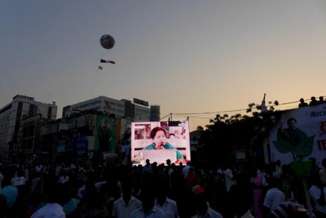 La actriz bollywoodiense J.Jayalalitha, en un anuncio electoral del...