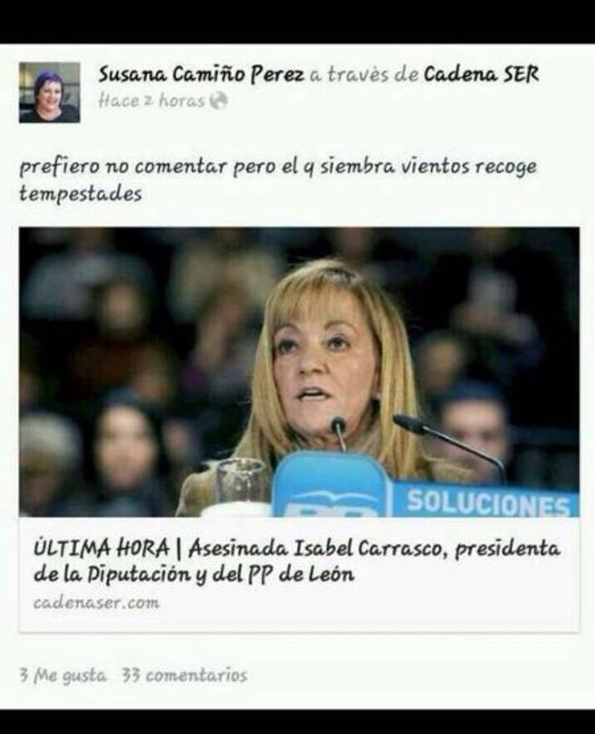 Captura del comentario publicado por Susana Camiño en Facebook.