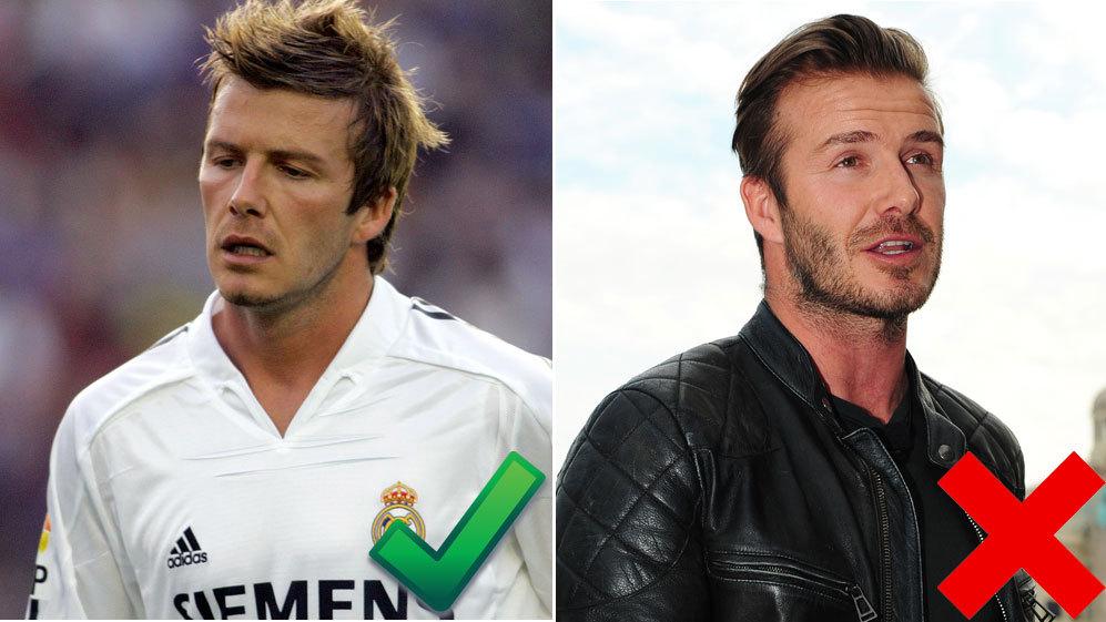 <strong>6. David Beckham, 39 años:</strong> Trencitas, una coleta...