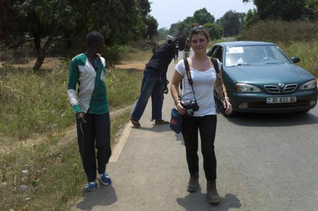 Camille Lepage, en una foto tomada el 21 de febrero en Damara, al...