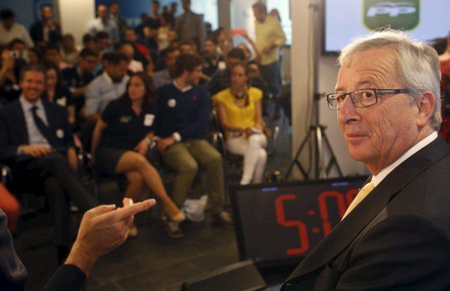 El candidato conservador Jean-Claude Juncker, en un reciente acto en...