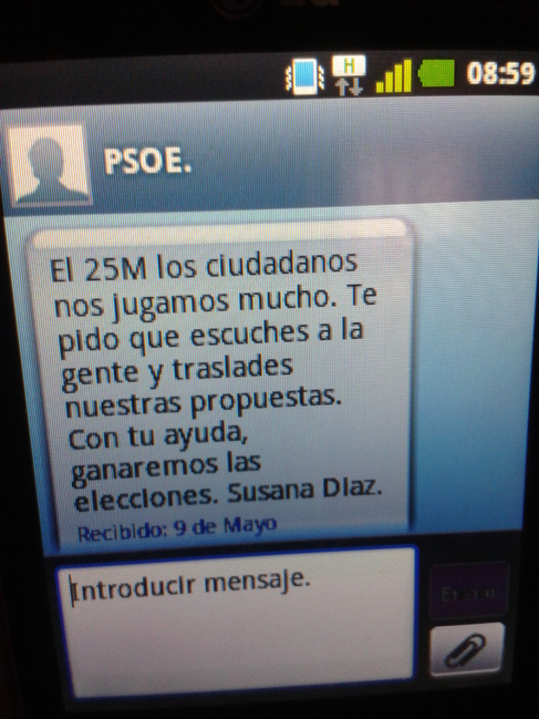 Mensaje de Susana Díaz enviado por móvil a funcionarios de la Junta.