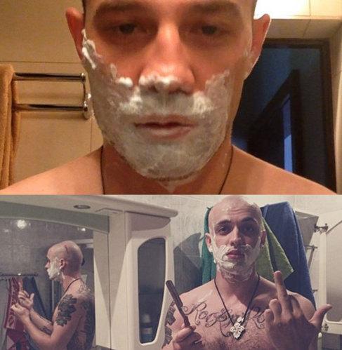 Dos imágenes de instagram muestran a dos hombres rusos afeitándose....