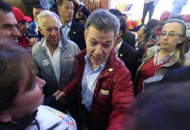 El presidente de Colombia, José Manuel Santos, a su llegada a un acto...
