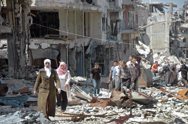 Escombros tras un ataque en la ciudad siria de Homs.