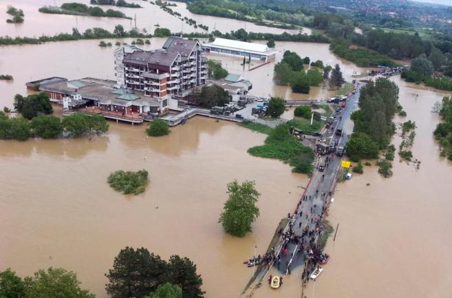 Imagen aérea de la ciudad de Obrenovac, situada a 40 kilómetros de...