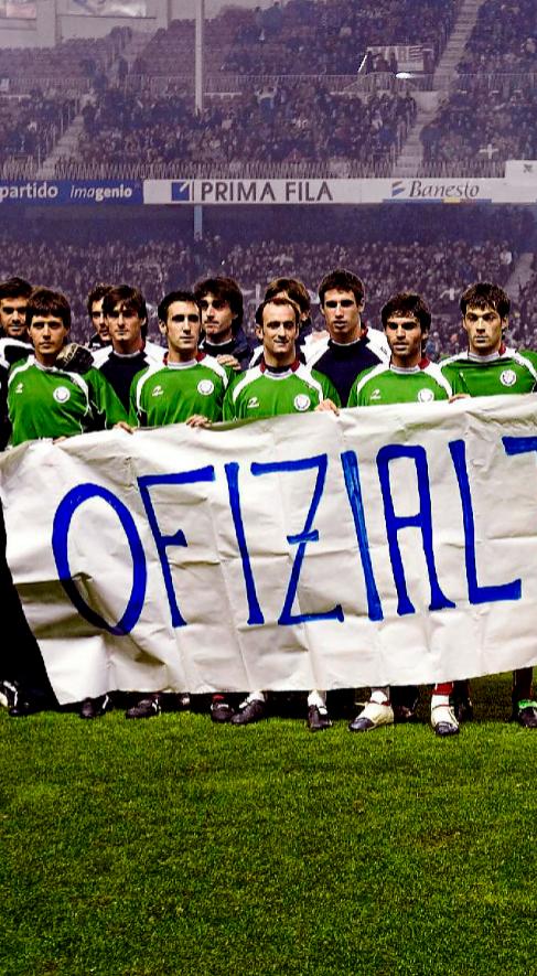 Jugadores de la selección de fútbol vasca.