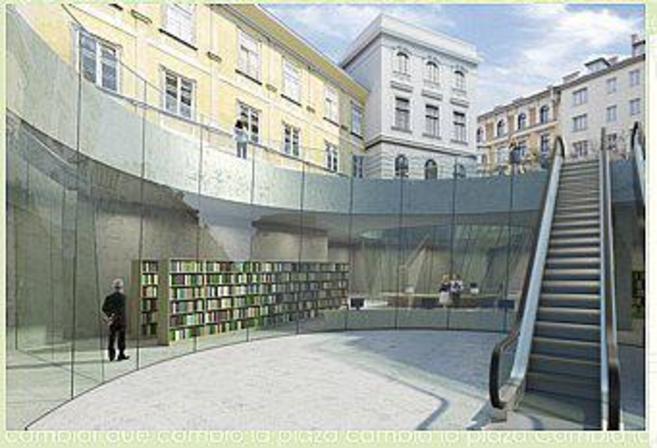 Recreación del centro cultural Joanneumsviertel, en Graz (Austria),...