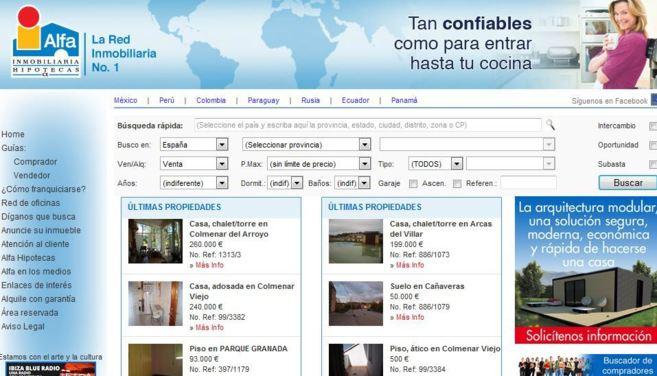 Página principal del portal de Alfa Inmobiliaria en internet.
