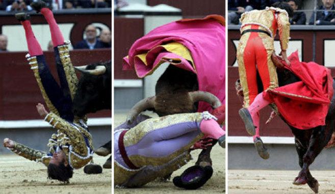 Los diestros David Mora, Antonio Nazaré y Sául Jiménez Fortes, en...