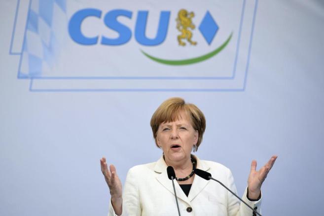 La canciller alemana, Angela Merkel, durante un acto de campaña de la...