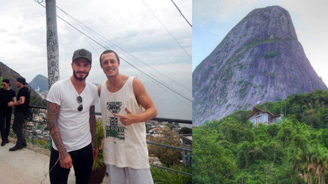 A la izda, Beckham en su última visita a Brasil. A la dcha, imagen de...