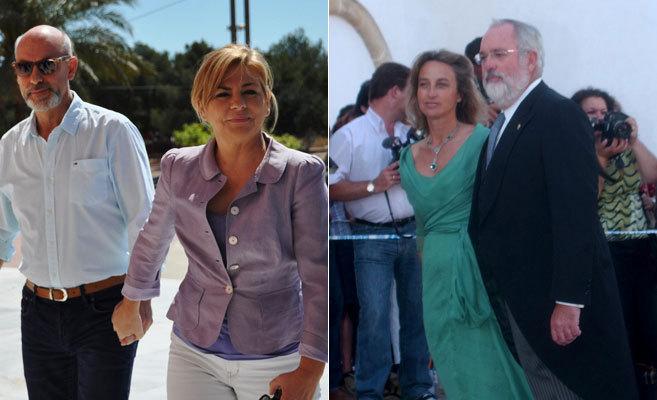 A la izquierda, Javier Udaeta y Elena Valenciano. A la derecha,...