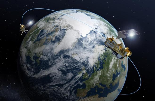 Recreación artística del satélite 'MetOp' en órbita...