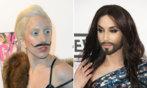 Lady Gaga (i) y Conchita Wurst en diferentes actos públicos.