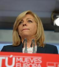 Elena Valenciano comparece en Ferraz para comentar los resultados.