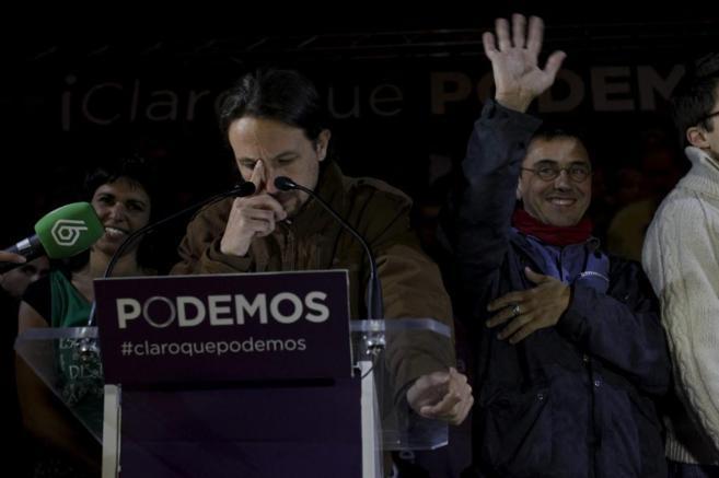 Pablo Iglesias celebra los resultados de Podemos en la noche...
