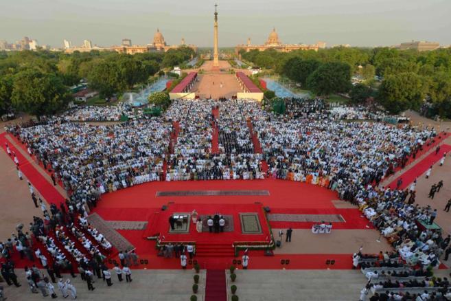 Ceremonia de investidura de Narendra Modi en Nueva Delhi.