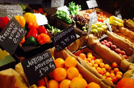 Frutas y verduras ecológicas del puesto de Semilla Nativa.