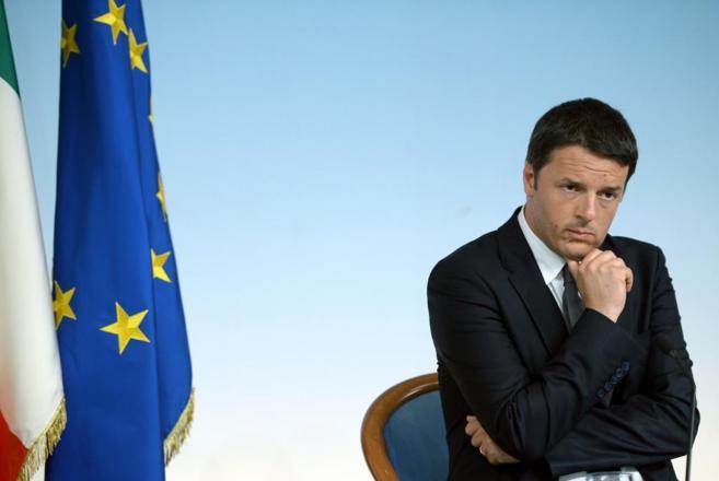 El primer ministro Matteo Renzi durante una conferencia de prensa en...