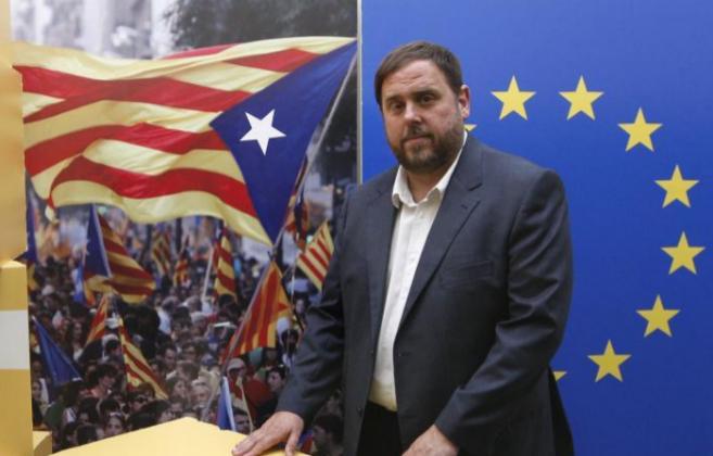 Oriol Junqueras en la sede de ERC.