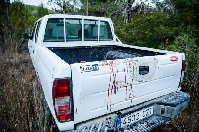 Restos de sangre de la víctima en la zona en la que se cometió el...