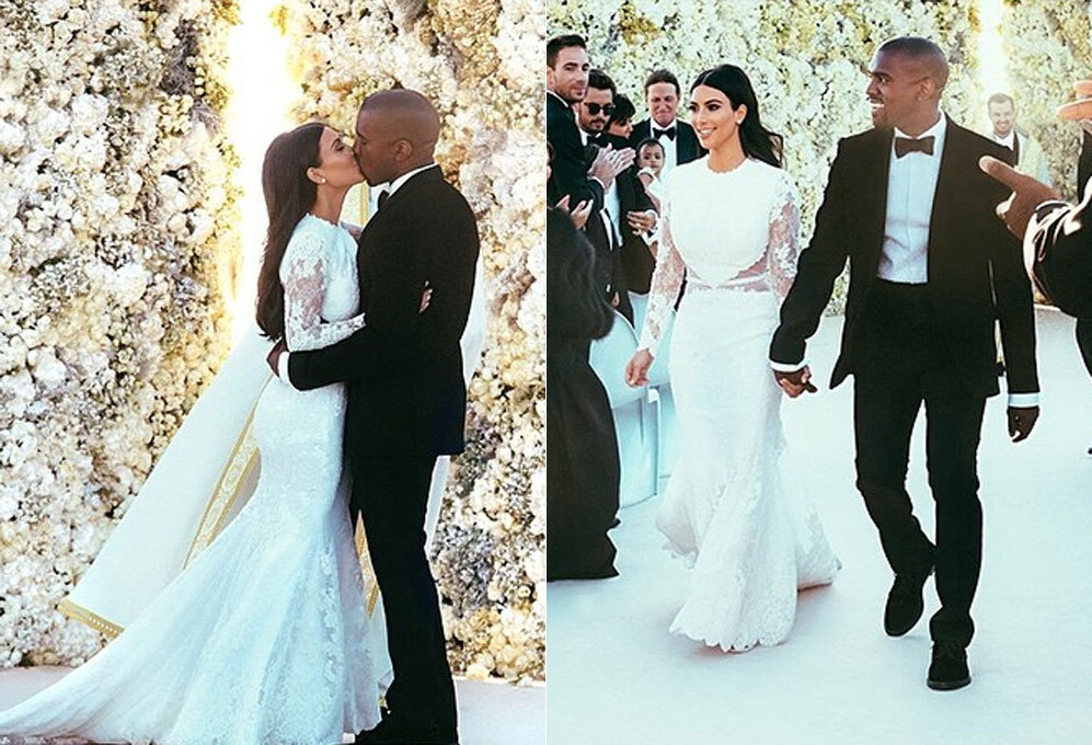 kim kardashian presume de curvas vestida de novia - pese a los