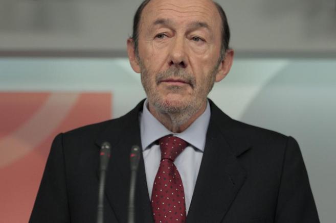 Alfredo Pérez Rubalcaba, el día que anunció su retirada en Ferraz.