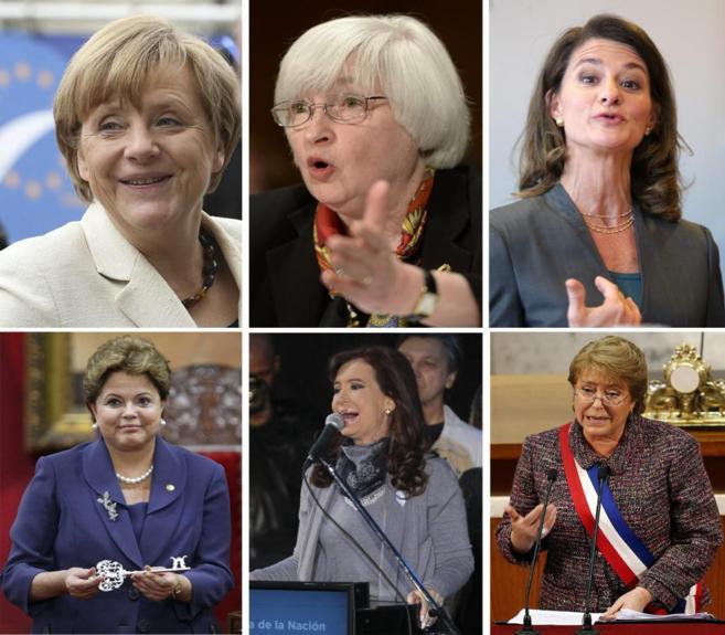 De izq. a dcha. Merke, Yellen y Gates, las tres mujeres más...
