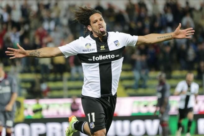Amauri celebra uno de sus goles con el Parma esta temporada.