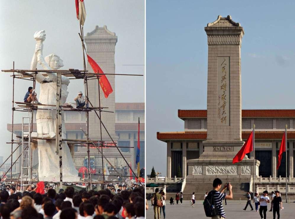 El Monumento a los Héroes de la Nación rodeado de gente durante las protestas y de turistas a día de hoy