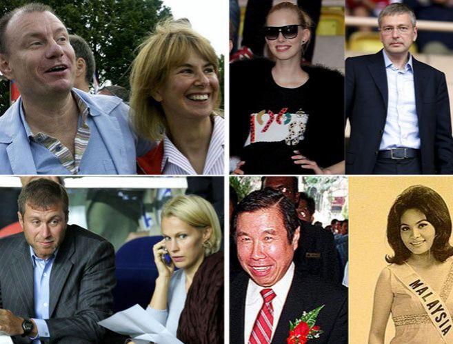 Vladimir Potanin y Natalia, D.Rybolovlev y Elena, R. Abramovich y I....