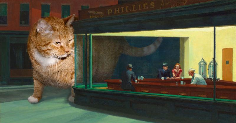 Petrova ha saltado a la fama primero en internet y ahora en su primera exposición física. El gato, llamado Zarathustra, ocupa todos sus cuadros y propala una historia de tristeza y alegría para Petrova.