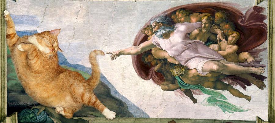 """Ya que el gato se había hecho famoso en la red, Svetlana Petrova se concentró en el proyecto """"Fat Cat Art"""", que consiste en adaptar al felino de su madre a las obras más conocidas del arte internacional, desde la Mona Lisa hasta Tiziano o Marc Chagall y Salvador Dalí o Damien Hirst."""