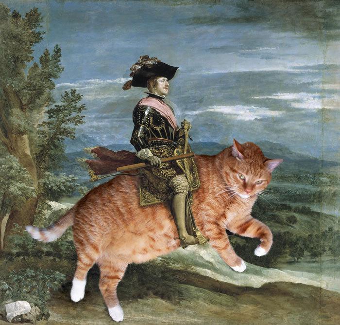El gato sobre el que está montado el rey Felipe IV en el cuadro pintado por Diego de Velázquez no tiene nada que envidiar al caballo del lienzo original. El felino ha sido insertado en la clásica imagen por la artista rusa Svetlana Petrova, de San Petersburgo.