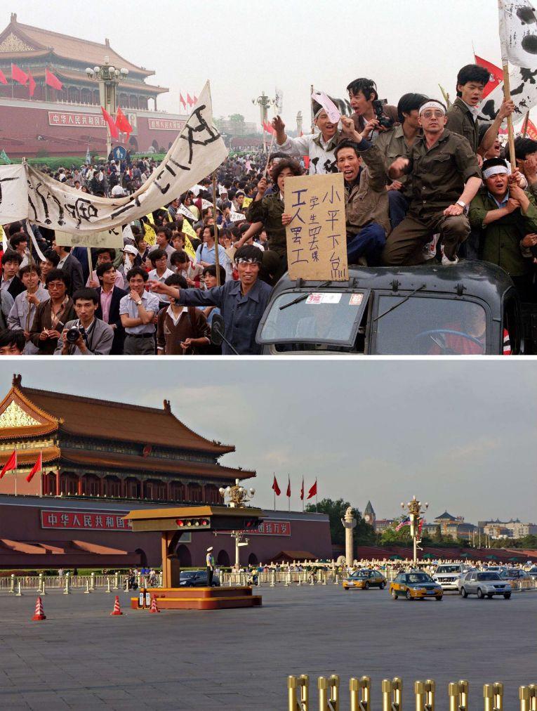 Varias personas subidas en un coche durante las protestas, y una imagen de estos días.