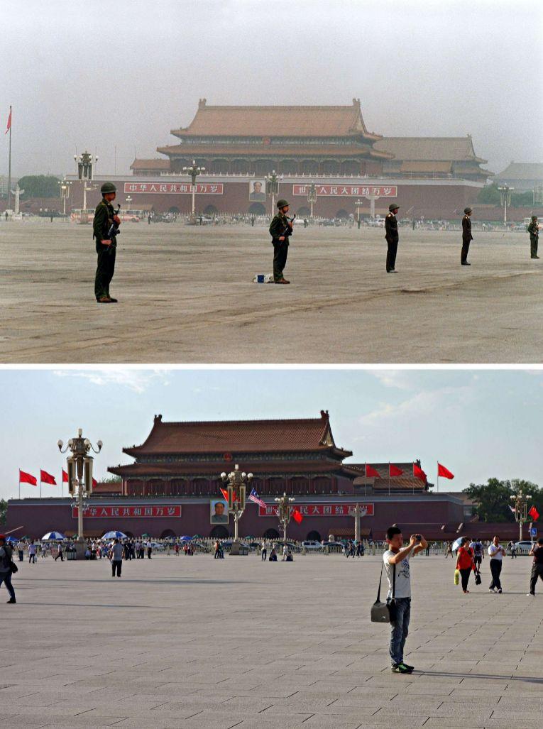 Militares custodian el Palacio Imperial, mientras ahora un grupo de turistas pasea por la plaza.