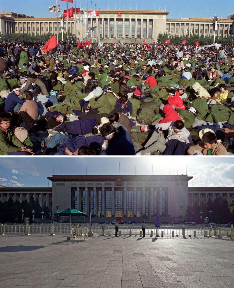 Manifestantes tumbados en el suelo de la Plaza Tiananmen de Beijing, lugar desierto actualmente.