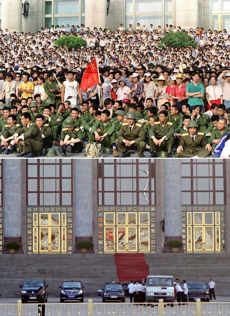Soldados del Ejército Popular de Liberación delante del edificio del Mausoleo de Mao. Abajo, una imagen reciente.
