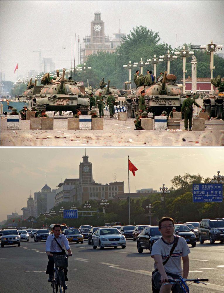 El ejército con sus tanques tomó la Plaza de Tiananmen, lugar por el que transitan ciclistas y vehículos.