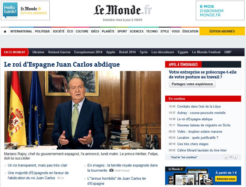 El periódico francés Le Monde, abre su portada digital con la...