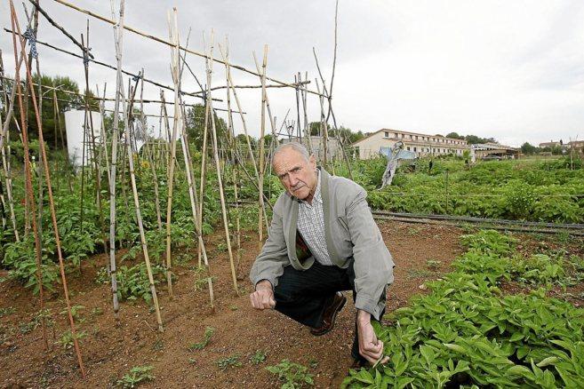 José Caballero en el huerto del proyecto de casas autogestionables La...